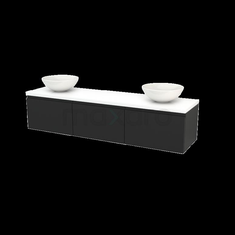 Badkamermeubel voor Waskom 180cm Carbon Greeploos Modulo+ Plato Hoogglans Wit Blad