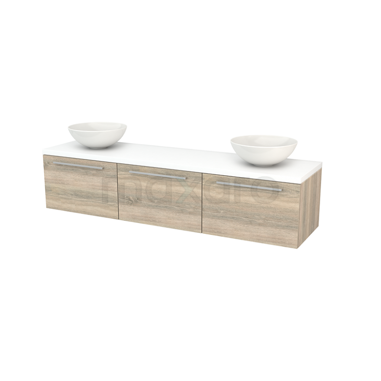 Badkamermeubel voor Waskom 180cm Eiken Vlak Modulo+ Plato Mat Wit Blad