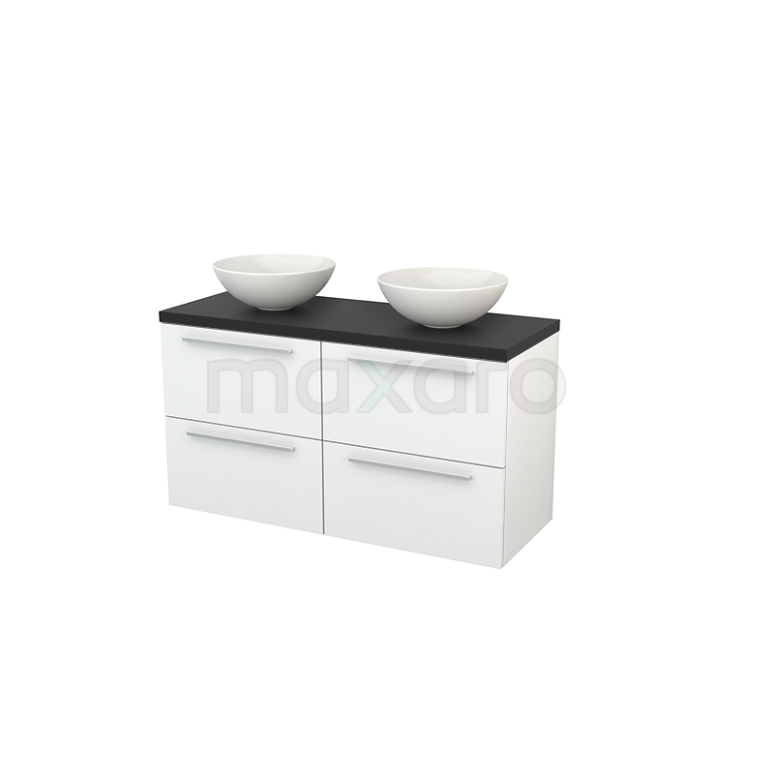 Badkamermeubel voor Waskom 120cm Hoogglans Wit Vlak Modulo+ Plato Carbon Blad