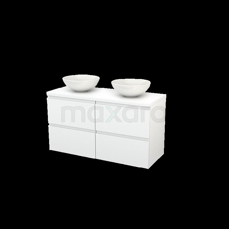 Badkamermeubel voor Waskom 120cm Modulo+ Plato Hoogglans Wit 4 Lades Greeploos