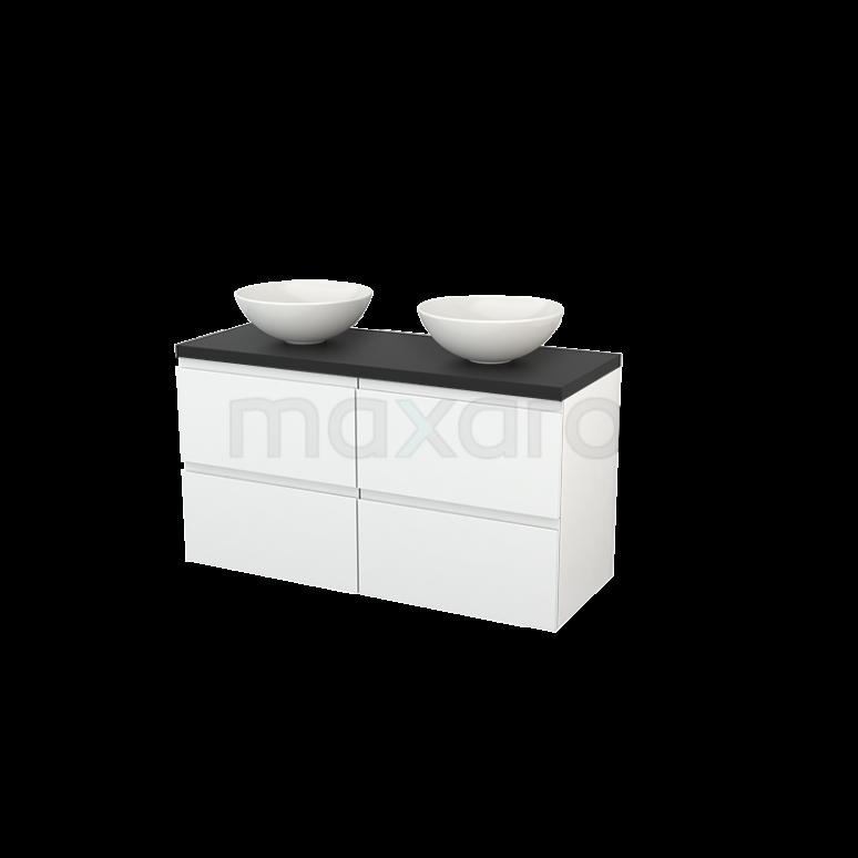 Badkamermeubel voor Waskom 120cm Hoogglans Wit Greeploos Modulo+ Plato Carbon Blad