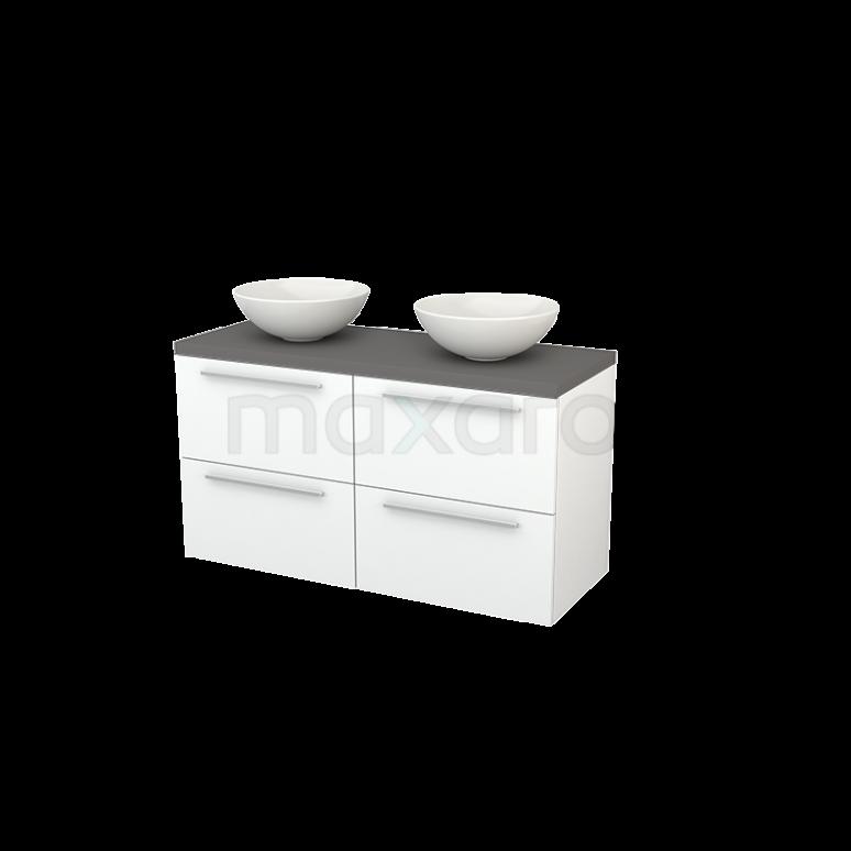 Badkamermeubel voor Waskom 120cm Mat Wit Vlak Modulo+ Plato Basalt Blad