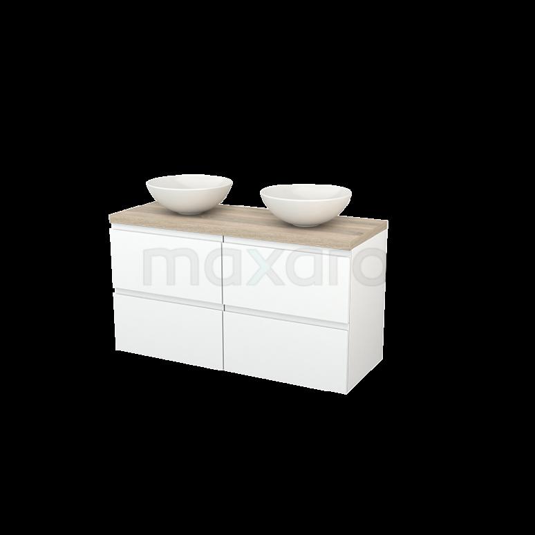 Maxaro Modulo+ Plato BMK002575 Badkamermeubel voor Waskom 120cm Mat Wit Greeploos Modulo+ Plato Eiken Blad