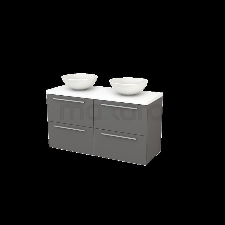 Badkamermeubel voor Waskom 120cm Basalt Vlak Modulo+ Plato Mat Wit Blad