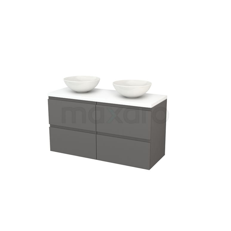 Badkamermeubel voor Waskom 120cm Basalt Greeploos Modulo+ Plato Mat Wit Blad