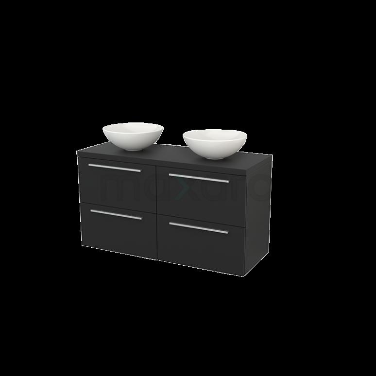Badkamermeubel voor Waskom 120cm Modulo+ Plato Carbon 4 Lades Vlak