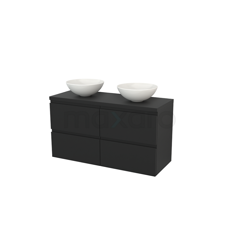 Maxaro Modulo+ Plato BMK002601 Badkamermeubel voor Waskom 120cm Modulo+ Plato Carbon 4 Lades Greeploos