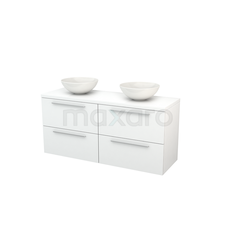 Badkamermeubel voor Waskom 140cm Modulo+ Plato Hoogglans Wit 4 Lades Vlak