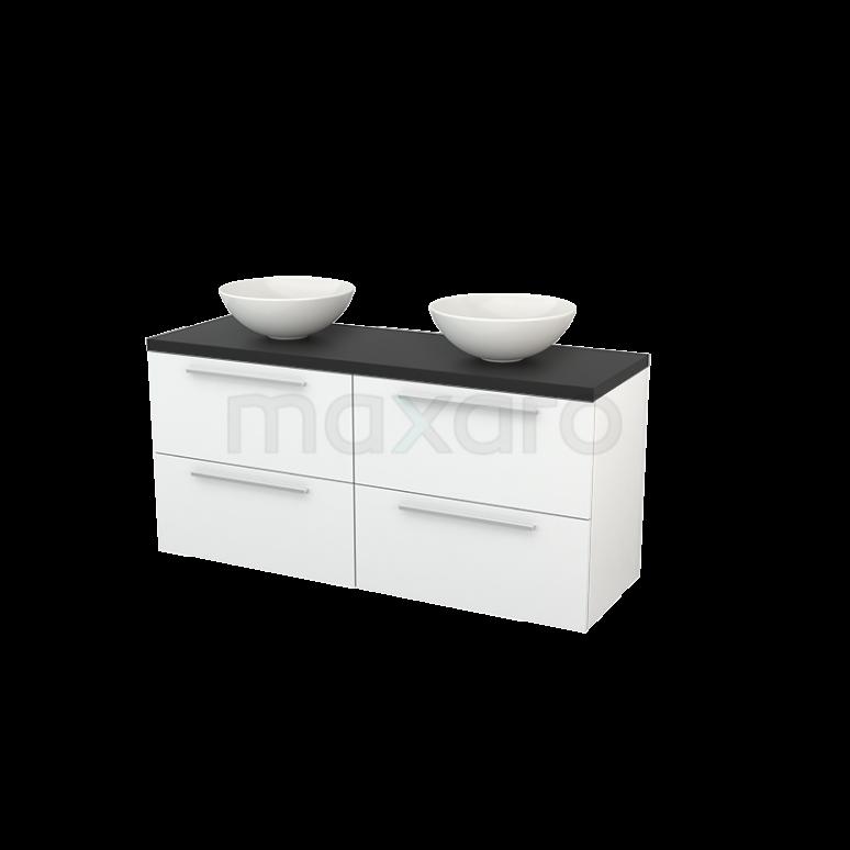 Badkamermeubel voor Waskom 140cm Hoogglans Wit Vlak Modulo+ Plato Carbon Blad