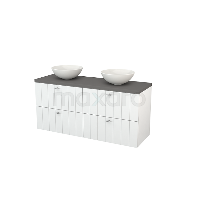 Badkamermeubel voor Waskom 140cm Hoogglans Wit Lamel Modulo+ Plato Basalt Blad
