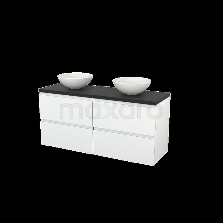 Badkamermeubel voor Waskom 140cm Hoogglans Wit Greeploos Modulo+ Plato Carbon Blad