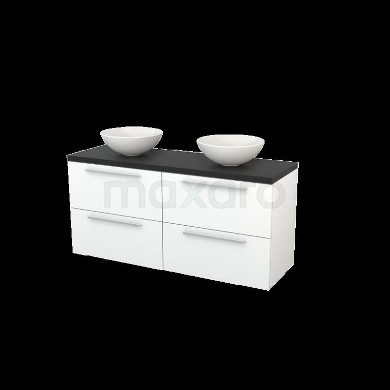 Badkamermeubel voor Waskom 140cm Mat Wit Vlak Modulo+ Plato Carbon Blad