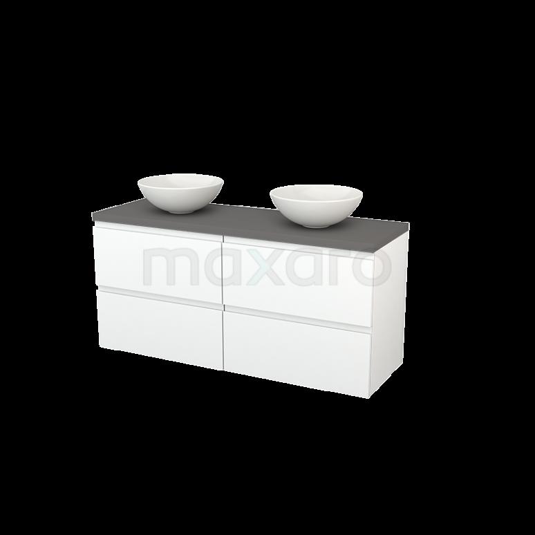 Maxaro Modulo+ Plato BMK002663 Badkamermeubel voor Waskom 140cm Mat Wit Greeploos Modulo+ Plato Basalt Blad