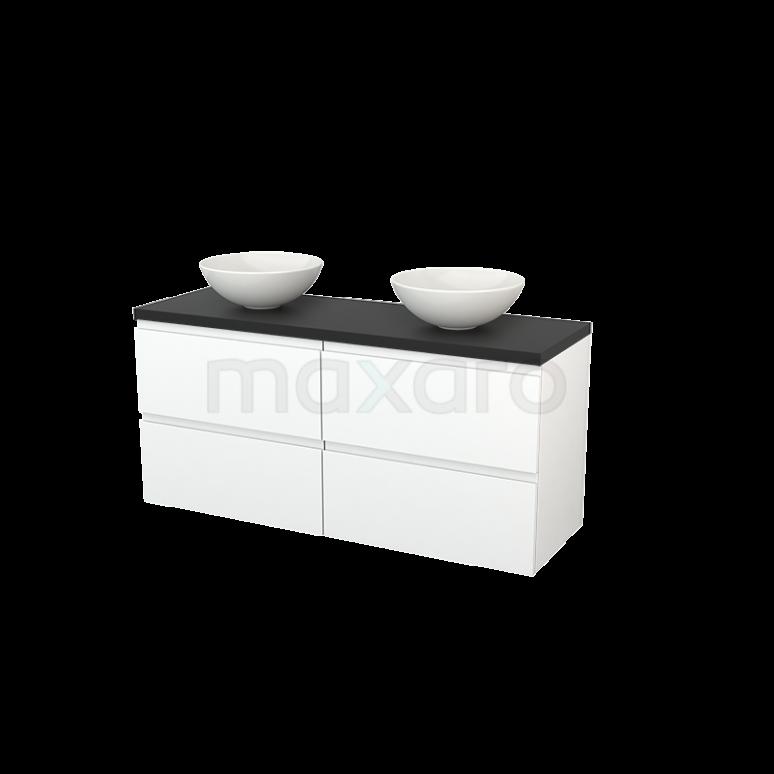 Maxaro Modulo+ Plato BMK002664 Badkamermeubel voor Waskom 140cm Mat Wit Greeploos Modulo+ Plato Carbon Blad