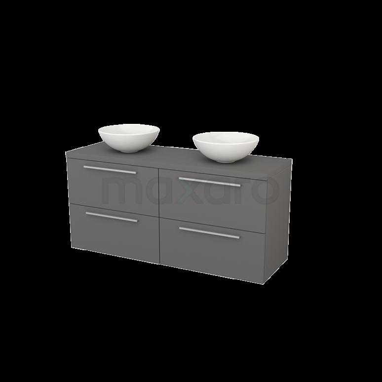 Badkamermeubel voor Waskom 140cm Modulo+ Plato Basalt 4 Lades Vlak