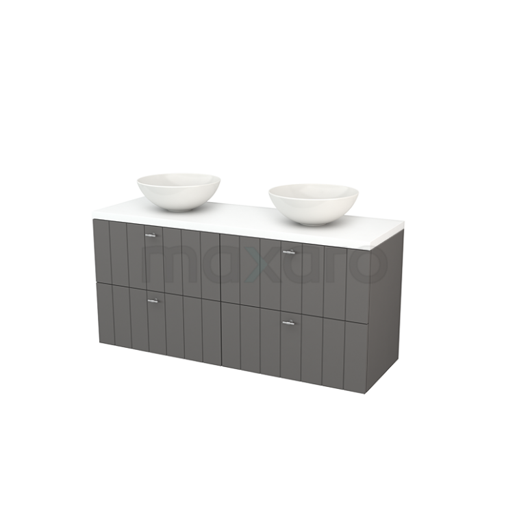 Badkamermeubel voor Waskom 140cm Basalt Lamel Modulo+ Plato Mat Wit Blad