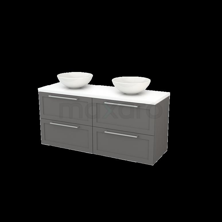 Badkamermeubel voor Waskom 140cm Basalt Kader Modulo+ Plato Hoogglans Wit Blad