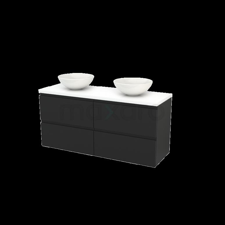 Maxaro Modulo+ Plato BMK002690 Badkamermeubel voor Waskom 140cm Carbon Greeploos Modulo+ Plato Hoogglans Wit Blad