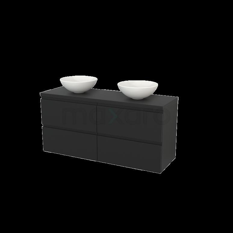 Badkamermeubel voor Waskom 140cm Modulo+ Plato Carbon 4 Lades Greeploos