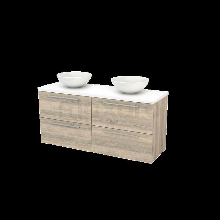 Badkamermeubel voor Waskom 140cm Eiken Vlak Modulo+ Plato Hoogglans Wit Blad
