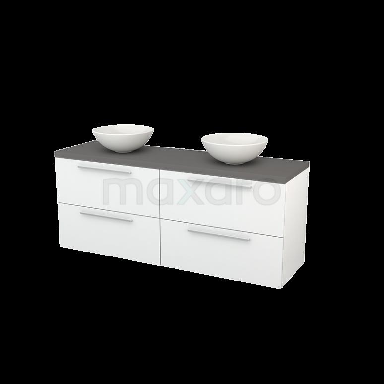 Maxaro Modulo+ Plato BMK002711 Badkamermeubel voor Waskom 160cm Hoogglans Wit Vlak Modulo+ Plato Basalt Blad