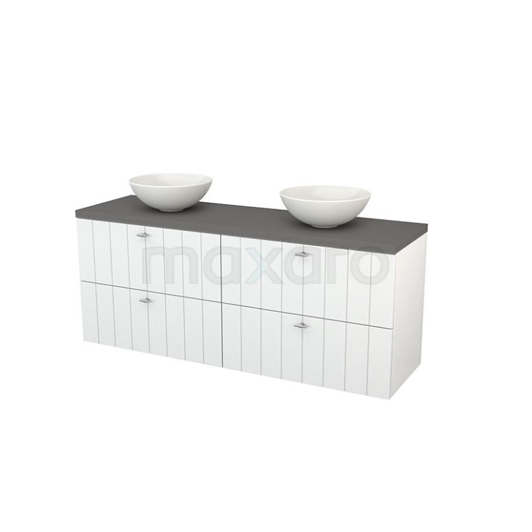 Badkamermeubel voor Waskom 160cm Hoogglans Wit Lamel Modulo+ Plato Basalt Blad