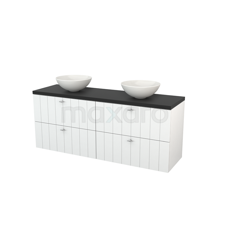 Maxaro Modulo+ Plato BMK002718 Badkamermeubel voor Waskom 160cm Hoogglans Wit Lamel Modulo+ Plato Carbon Blad