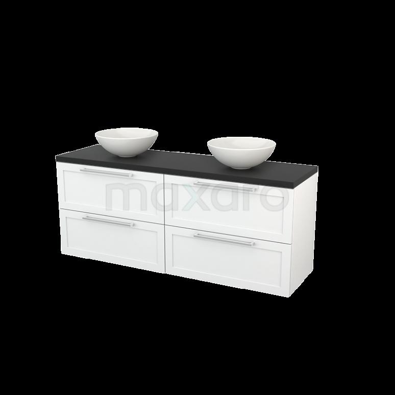 Badkamermeubel voor Waskom 160cm Hoogglans Wit Kader Modulo+ Plato Carbon Blad