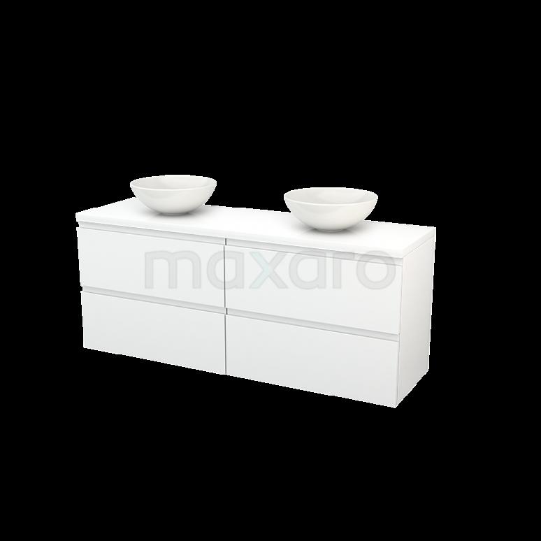 Badkamermeubel voor Waskom 160cm Modulo+ Plato Hoogglans Wit 4 Lades Greeploos