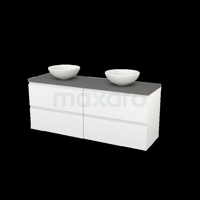 Badkamermeubel voor Waskom 160cm Hoogglans Wit Greeploos Modulo+ Plato Basalt Blad