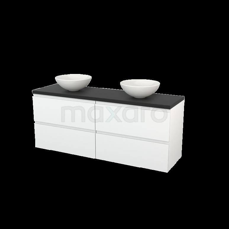 Badkamermeubel voor Waskom 160cm Hoogglans Wit Greeploos Modulo+ Plato Carbon Blad