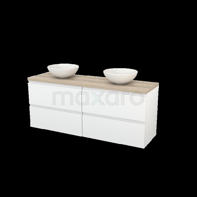 Badkamermeubel voor Waskom 160cm Hoogglans Wit Greeploos Modulo+ Plato Eiken Blad
