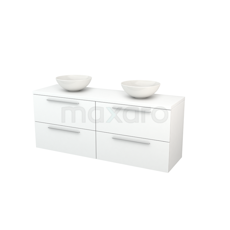 Badkamermeubel voor Waskom 160cm Modulo+ Plato Mat Wit 4 Lades Vlak