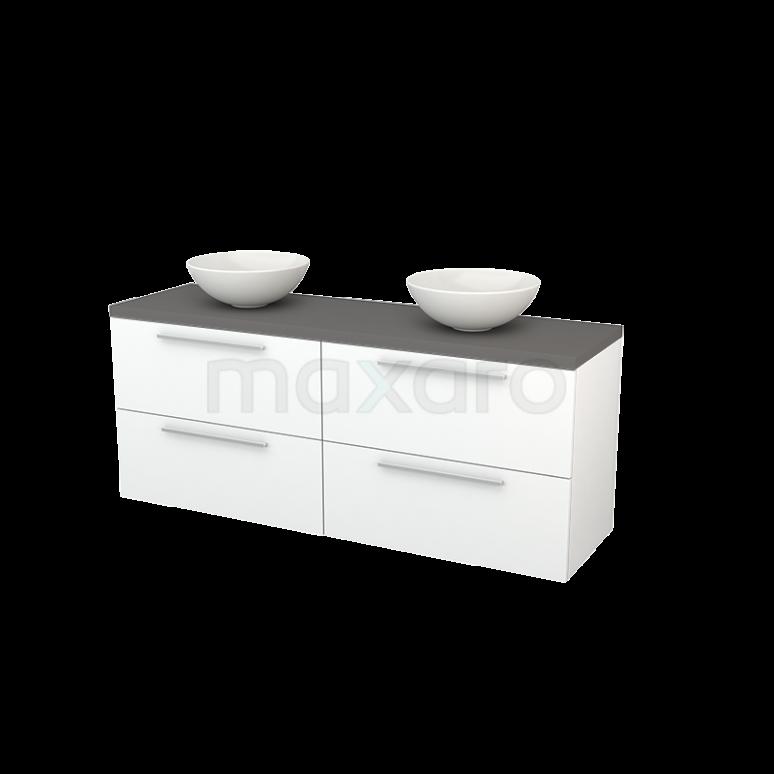 Maxaro Modulo+ Plato BMK002735 Badkamermeubel voor Waskom 160cm Mat Wit Vlak Modulo+ Plato Basalt Blad