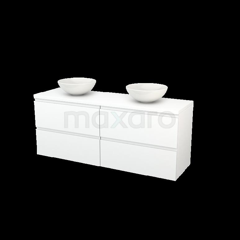 Badkamermeubel voor Waskom 160cm Modulo+ Plato Mat Wit 4 Lades Greeploos