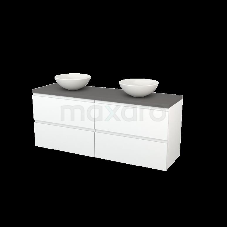 Badkamermeubel voor Waskom 160cm Mat Wit Greeploos Modulo+ Plato Basalt Blad