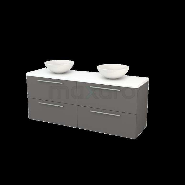 Badkamermeubel voor Waskom 160cm Basalt Vlak Modulo+ Plato Mat Wit Blad