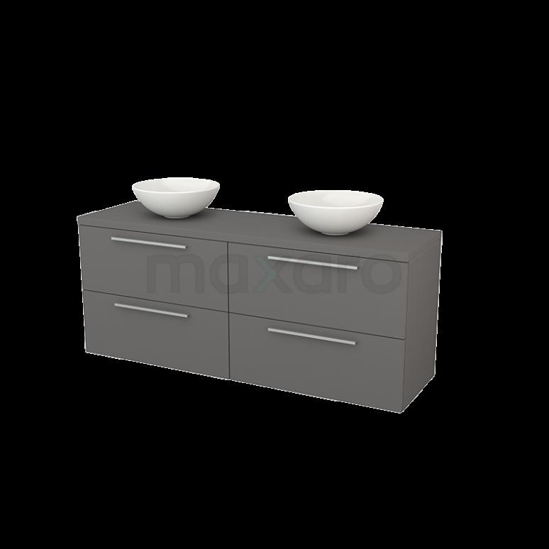 Maxaro Modulo+ Plato BMK002760 Badkamermeubel voor Waskom 160cm Modulo+ Plato Basalt 4 Lades Vlak