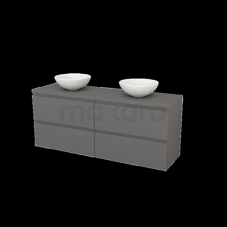 Badkamermeubel voor Waskom 160cm Modulo+ Plato Basalt 4 Lades Greeploos