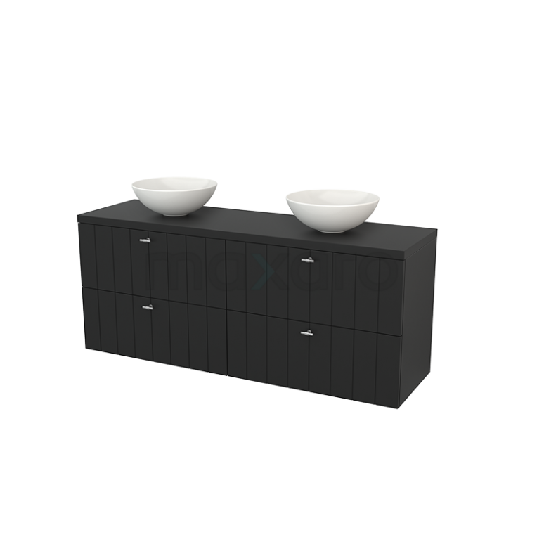 Badkamermeubel voor Waskom 160cm Modulo+ Plato Carbon 4 Lades Lamel