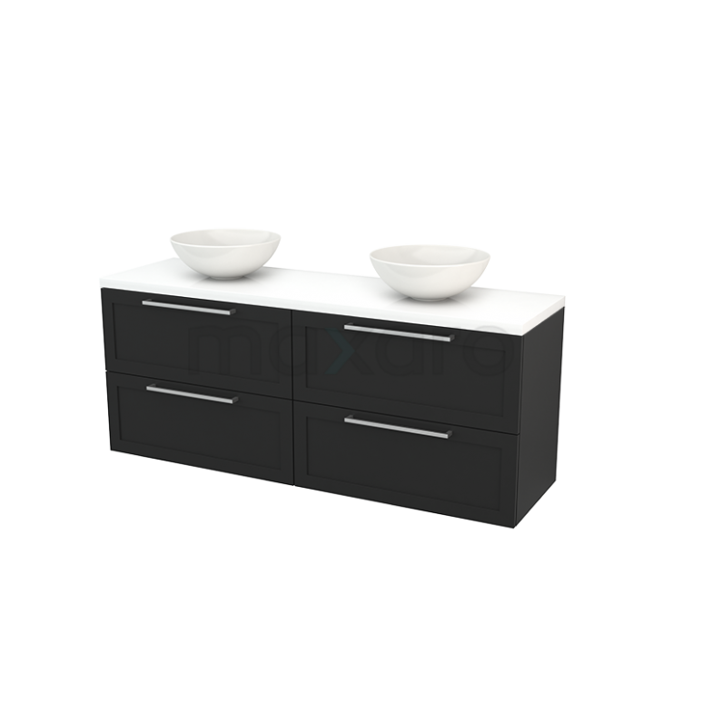 Badkamermeubel voor Waskom 160cm Carbon Kader Modulo+ Plato Hoogglans Wit Blad