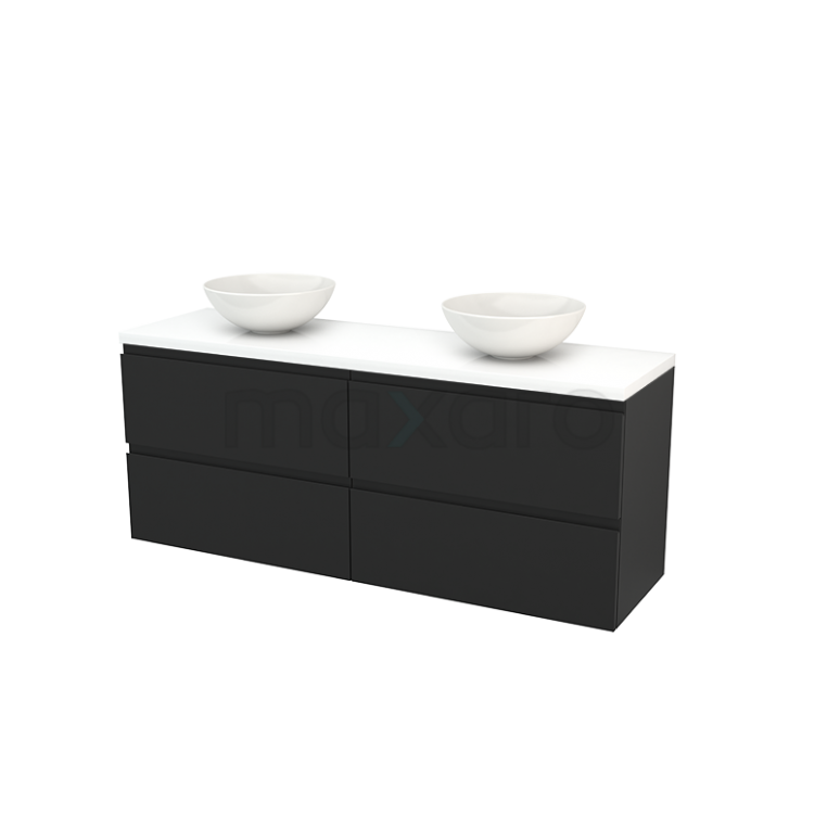 Maxaro Modulo+ Plato BMK002780 Badkamermeubel voor Waskom 160cm Carbon Greeploos Modulo+ Plato Hoogglans Wit Blad