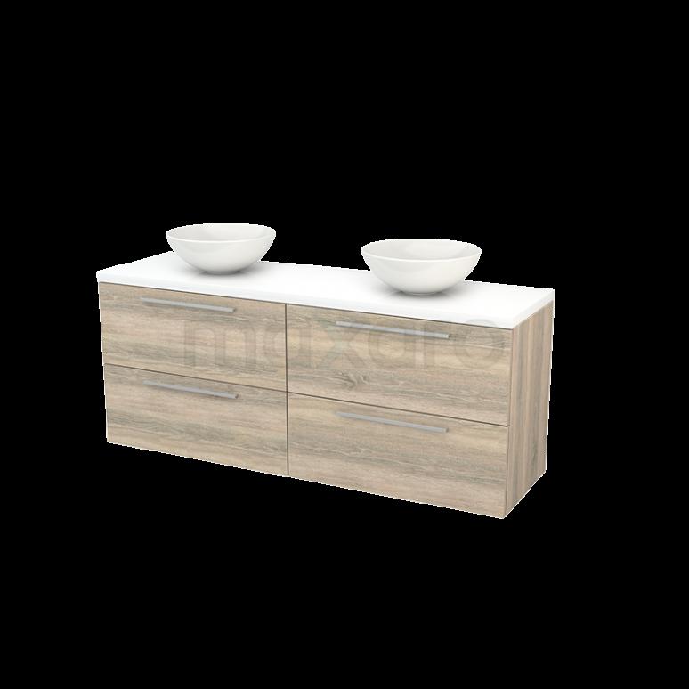 Badkamermeubel voor Waskom 160cm Eiken Vlak Modulo+ Plato Hoogglans Wit Blad
