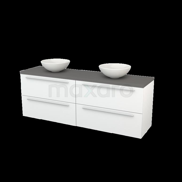 Badkamermeubel voor Waskom 180cm Hoogglans Wit Vlak Modulo+ Plato Basalt Blad