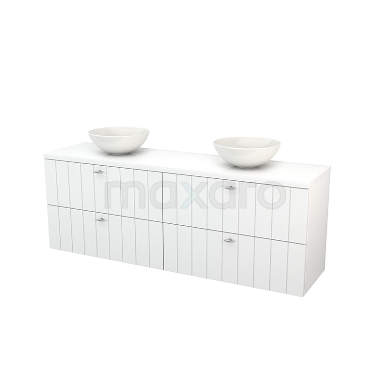 Maxaro Modulo+ Plato BMK002806 Badkamermeubel voor Waskom 180cm Modulo+ Plato Hoogglans Wit 4 Lades Lamel