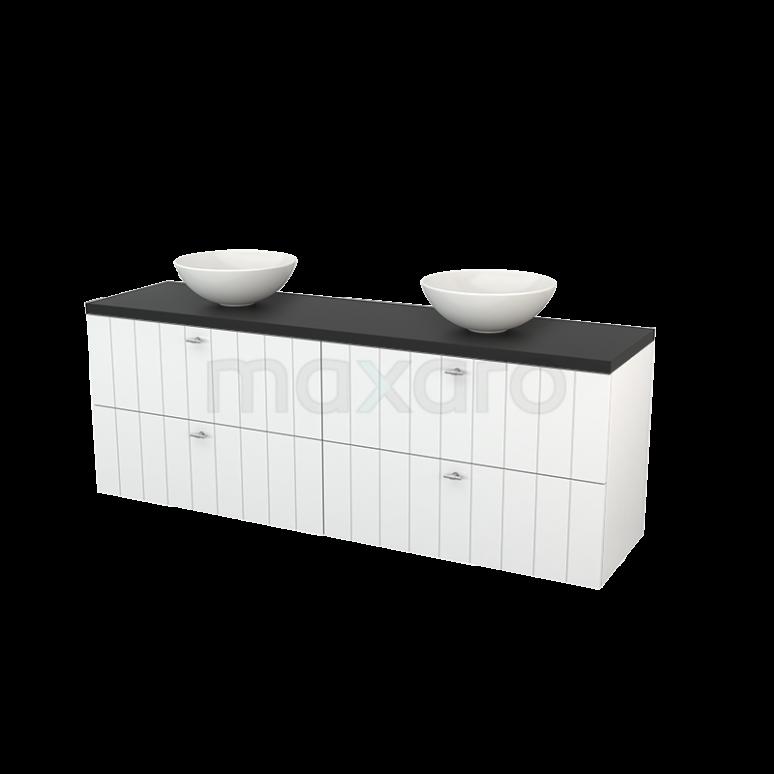 Maxaro Modulo+ Plato BMK002808 Badkamermeubel voor Waskom 180cm Hoogglans Wit Lamel Modulo+ Plato Carbon Blad
