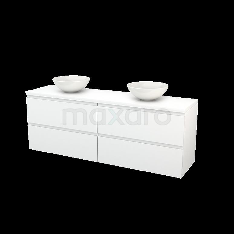 Badkamermeubel voor Waskom 180cm Modulo+ Plato Hoogglans Wit 4 Lades Greeploos