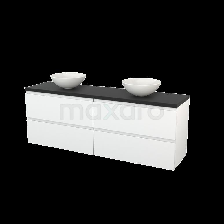 Maxaro Modulo+ Plato BMK002820 Badkamermeubel voor Waskom 180cm Hoogglans Wit Greeploos Modulo+ Plato Carbon Blad