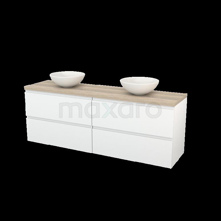 Badkamermeubel voor Waskom 180cm Hoogglans Wit Greeploos Modulo+ Plato Eiken Blad