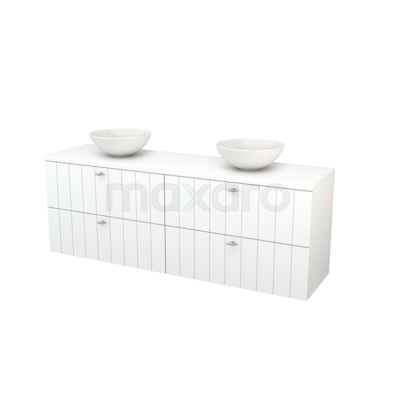 Badkamermeubel voor Waskom 180cm Modulo+ Plato Mat Wit 4 Lades Lamel
